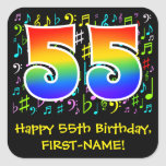 [ Thumbnail: 55th Birthday: Colorful Music Symbols, Rainbow 55 Sticker ]