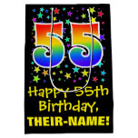 [ Thumbnail: 55th Birthday: Colorful Stars Pattern & Rainbow 55 Gift Bag ]