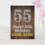 [ Thumbnail: 55th Birthday: Country Western Inspired Look, Name Card ]
