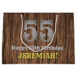 [ Thumbnail: 55th Birthday: Country Western Inspired Look, Name Gift Bag ]