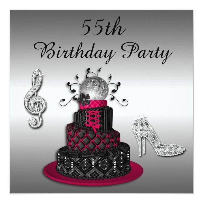 Prime 55Th Birthday Disco Diva Cake And Sparkle Heels Invitation Zazzle Personalised Birthday Cards Paralily Jamesorg