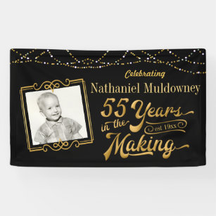 55th Birthday Editable Black And Gold Banner