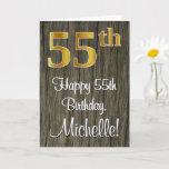 [ Thumbnail: 55th Birthday: Elegant Faux Gold Look #, Faux Wood Card ]