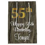 [ Thumbnail: 55th Birthday: Elegant Faux Gold Look #, Faux Wood Gift Bag ]