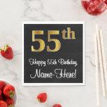 [ Thumbnail: 55th Birthday ~ Elegant Luxurious Faux Gold Look # Napkins ]