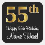 [ Thumbnail: 55th Birthday – Elegant Luxurious Faux Gold Look # Sticker ]
