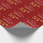 [ Thumbnail: 55th Birthday: Elegant, Red, Faux Gold Look Wrapping Paper ]