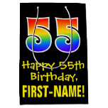 "[ Thumbnail: 55th Birthday: Fun, Bold, Colorful, Rainbow ""55"" Gift Bag ]"