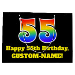 [ Thumbnail: 55th Birthday ~ Fun, Colorful, Vibrant, Rainbow 55 Gift Bag ]