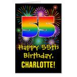 [ Thumbnail: 55th Birthday: Fun Fireworks Pattern & Rainbow 55 Card ]