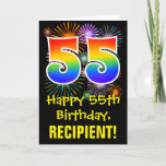 [ Thumbnail: 55th Birthday: Fun Fireworks Pattern + Rainbow 55 Card ]