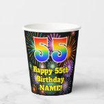 [ Thumbnail: 55th Birthday: Fun Fireworks Pattern + Rainbow 55 ]