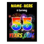 "[ Thumbnail: 55th Birthday - Fun Fireworks, Rainbow Look ""55"" Postcard ]"
