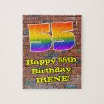 [ Thumbnail: 55th Birthday: Fun Graffiti-Inspired Rainbow 55 Jigsaw Puzzle ]