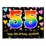 [ Thumbnail: 55th Birthday: Fun Hearts Pattern, Rainbow 55 Postcard ]