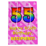 [ Thumbnail: 55th Birthday: Fun Pink Hearts Stripes; Rainbow 55 Gift Bag ]