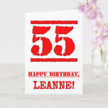 [ Thumbnail: 55th Birthday: Fun, Red Rubber Stamp Inspired Look Card ]