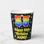 [ Thumbnail: 55th Birthday: Fun Stars Pattern and Rainbow 55 ]