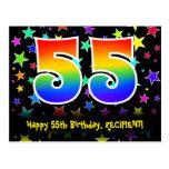 [ Thumbnail: 55th Birthday: Fun Stars Pattern, Rainbow 55, Name Postcard ]