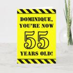 [ Thumbnail: 55th Birthday: Fun Stencil Style Text, Custom Name Card ]