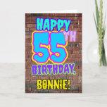 [ Thumbnail: 55th Birthday - Fun, Urban Graffiti Inspired Look Card ]