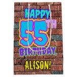 [ Thumbnail: 55th Birthday: Fun, Urban Graffiti Inspired Look Gift Bag ]