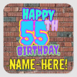 [ Thumbnail: 55th Birthday – Fun, Urban Graffiti Inspired Look Sticker ]
