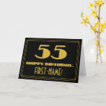 "[ Thumbnail: 55th Birthday: Name + Art Deco Inspired Look ""55"" Card ]"