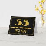 "[ Thumbnail: 55th Birthday: Name + Art Deco Inspired Look ""55"" Card ]"