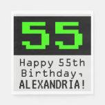 """[ Thumbnail: 55th Birthday - Nerdy / Geeky Style """"55"""" & Name Napkins ]"""