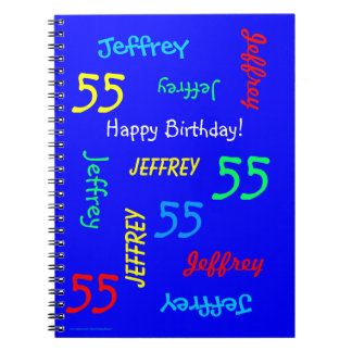 55th Birthday Party Blue Guest Book, Repeat Names Spiral Notebook