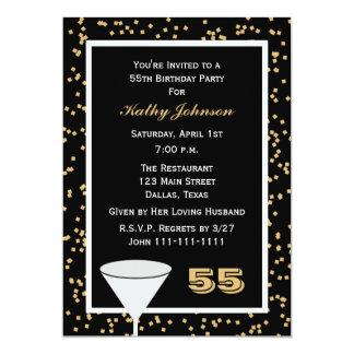 55th Birthday Party Invitation 55 and Confetti