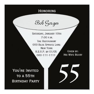 55th Birthday Party Invitation 55 in Black