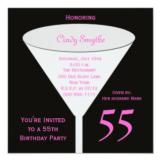 55th Birthday Party Invitation 55th Toast