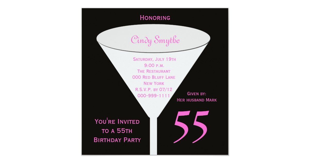55th Birthday Party Invitation 55th Toast Zazzle Com