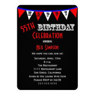 55th Birthday Party Invitation Bunting