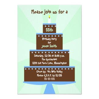 55th Birthday Party Invitation Cake on Green