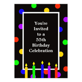 55th Birthday Party Invitation -- Colorful Candles Announcement