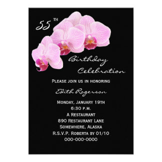 55th Birthday Party Invitation -- Orchids Custom Announcement
