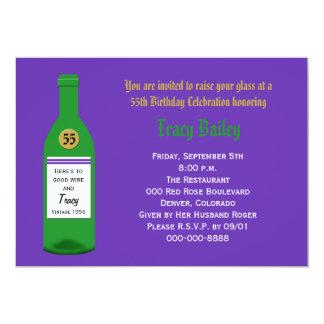 55th Birthday Party Invitation Purple