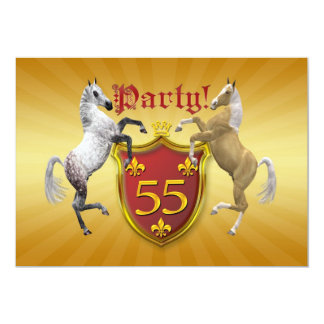 55th Birthday party invitation with coat of arms