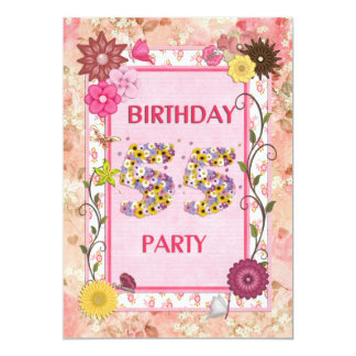 55th birthday party invitation with floral frame