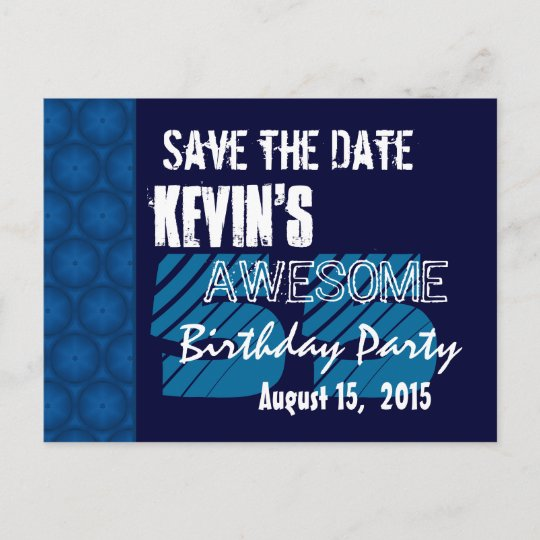 55th birthday party save the date blue midnight announcement