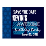 55th Birthday Party Save the Date Blue Midnight Post Card