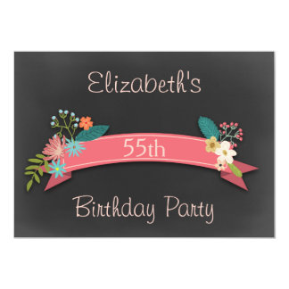 55th Birthday Pink Banner Flowers Chalkboard Card