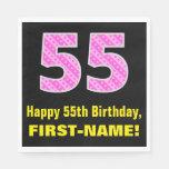 "[ Thumbnail: 55th Birthday: Pink Stripes and Hearts ""55"" + Name Napkins ]"