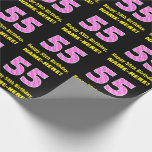 """[ Thumbnail: 55th Birthday: Pink Stripes and Hearts """"55"""" + Name Wrapping Paper ]"""