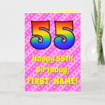 [ Thumbnail: 55th Birthday: Pink Stripes & Hearts, Rainbow # 55 Card ]