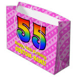 [ Thumbnail: 55th Birthday: Pink Stripes & Hearts, Rainbow # 55 Gift Bag ]