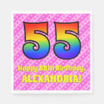 [ Thumbnail: 55th Birthday: Pink Stripes & Hearts, Rainbow # 55 Napkins ]